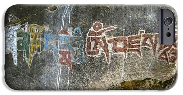 Buddhist Pyrography iPhone Cases - Om Mani Padme Hum - Mani Stone  iPhone Case by Sam Mart