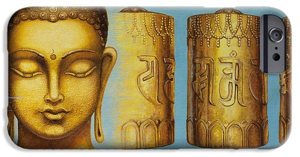 Tibetan Buddhism iPhone Cases - Om Mani Padme Hum iPhone Case by Yuliya Glavnaya