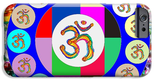 Diy iPhone Cases - OM Mantra Dedication  Devotion SYMBOL ASSEMBLY by Artist n Reiki Healing Master NavinJOSHI iPhone Case by Navin Joshi