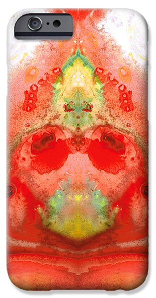 Om - Red Meditation - Abstract Art By Sharon Cummings iPhone Case by Sharon Cummings