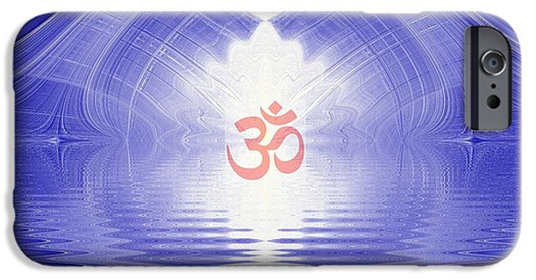 Hindu Goddess iPhone Cases - Om Shining And Reflected In Water iPhone Case by M Rao