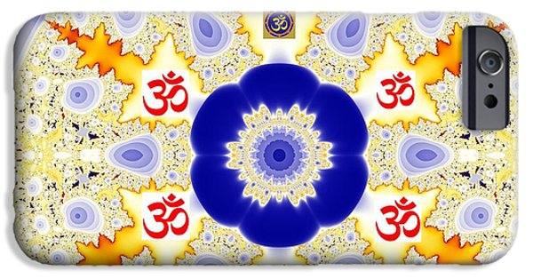 Hindu Goddess iPhone Cases - Om Sixer iPhone Case by M Rao