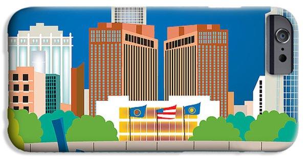 Best Sellers -  - Nebraska iPhone Cases - Omaha Nebraska Skyline Art Style O-OMA iPhone Case by Karen Young