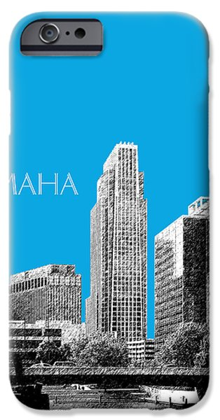Nebraska Digital iPhone Cases - Omaha Skyline - Ice Blue iPhone Case by DB Artist