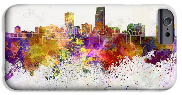 Nebraska Paintings iPhone Cases - Omaha skyline in watercolor background iPhone Case by Pablo Romero