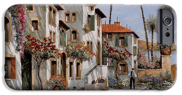 Calm Paintings iPhone Cases - Ombre Al Pomeriggio iPhone Case by Guido Borelli