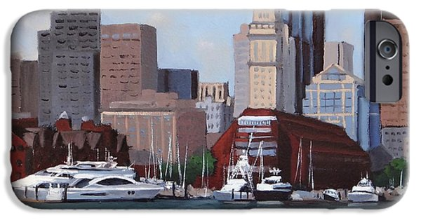 City. Boston Paintings iPhone Cases - On a Clear Day iPhone Case by Laura Lee Zanghetti