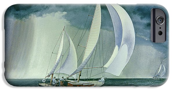 Sailboat Paintings iPhone Cases - On a Reach iPhone Case by Paul Krapf