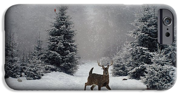 Snow Scene iPhone Cases - On a snowy evening iPhone Case by Lianne Schneider