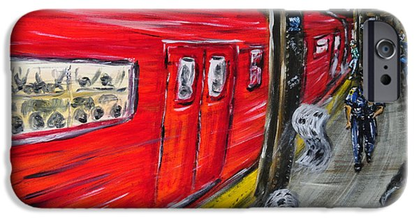 Police Officer Paintings iPhone Cases - On A Subway Platform iPhone Case by Ka-Son Reeves