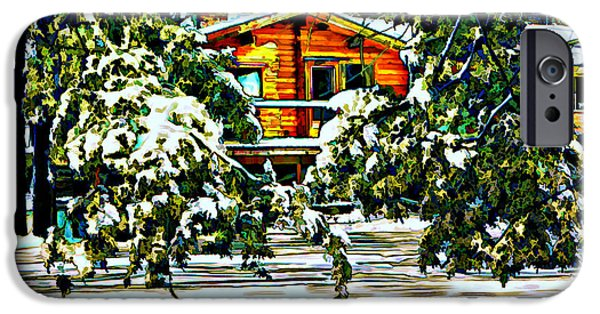 Log Cabin Digital iPhone Cases - On a Winter Day iPhone Case by Steve Harrington