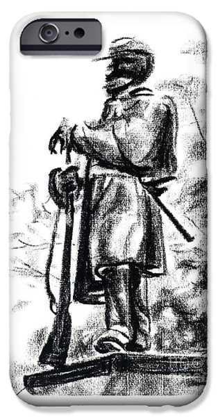 Confederate Monument Drawings iPhone Cases - On Duty in Brigadoon  No CH101 iPhone Case by Kip DeVore