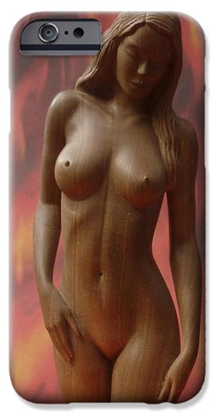 Nudes Sculptures iPhone Cases - On Fire - Sculpture of Nude Woman iPhone Case by Carlos Baez Barrueto