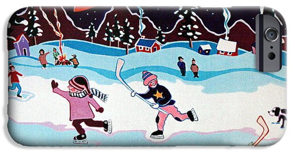 Hockey Paintings iPhone Cases - On Frozen Pond iPhone Case by Joyce Gebauer