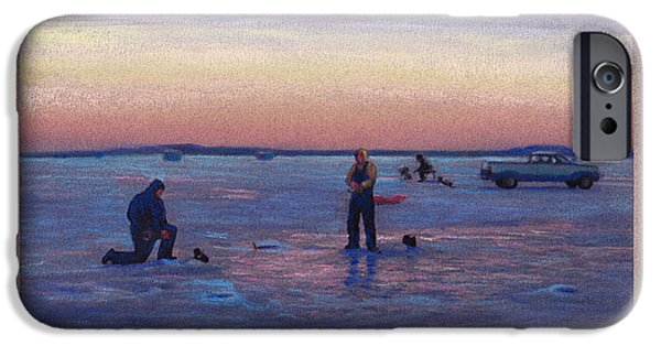 Minnesota Pastels iPhone Cases - On Frozen Pond iPhone Case by Michael  Weber