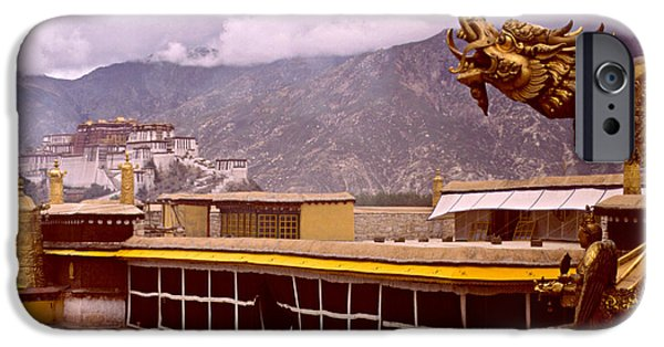 Tibetan Buddhism iPhone Cases - On Jokhang Monastery Rooftop iPhone Case by Anna Lisa Yoder