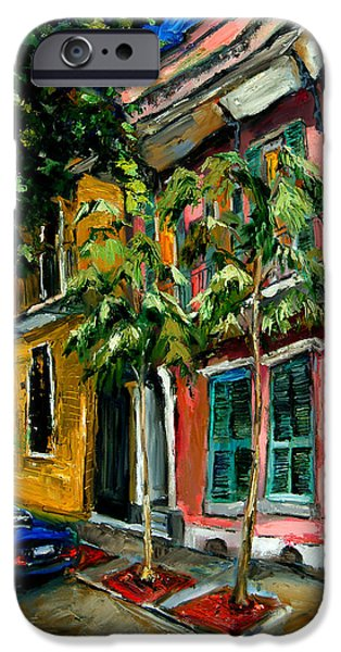 Garden Scene Paintings iPhone Cases - On St. Charles iPhone Case by Carole Foret