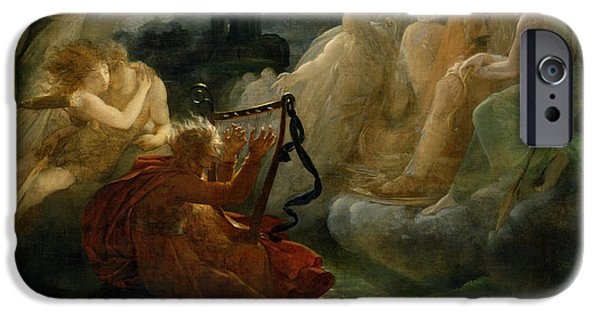 Myth iPhone Cases - On The Bank Of The Lora, Ossian Conjures Up A Spirit With The Sound Of His Harp, C.1811 Oil iPhone Case by Francois Pascal Simon, Baron Gerard