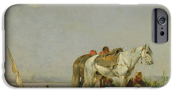 Horse iPhone Cases - On The Bank Of The Nile, 1871 Oil On Panel iPhone Case by Eugene Fromentin