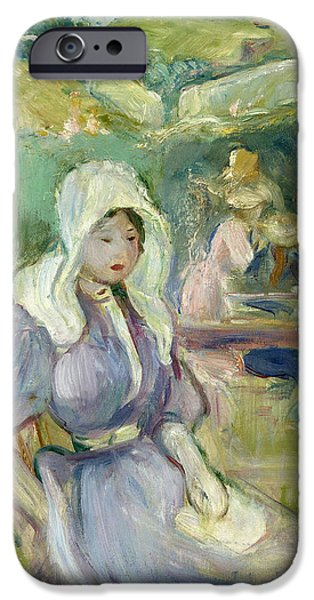 Berthe Paintings iPhone Cases - On the Beach at Portrieux iPhone Case by Berthe Morisot