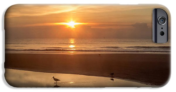 Beach Photographs iPhone Cases - On the beach at sunrise iPhone Case by Zina Stromberg
