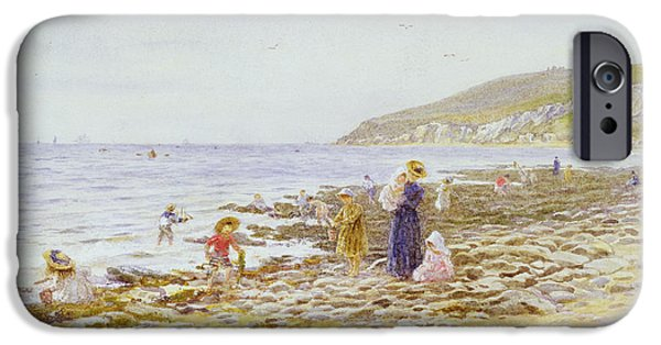 Net Paintings iPhone Cases - On the Beach iPhone Case by Helen Allingham