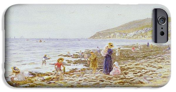 The Beach iPhone Cases - On the Beach iPhone Case by Helen Allingham