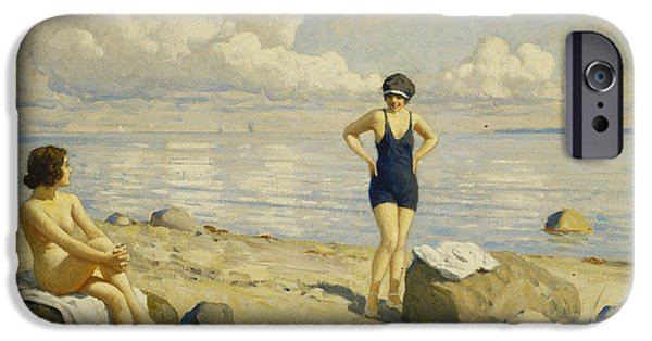 Relationship iPhone Cases - On The Beach, Oil On Canvas iPhone Case by Paul Fischer