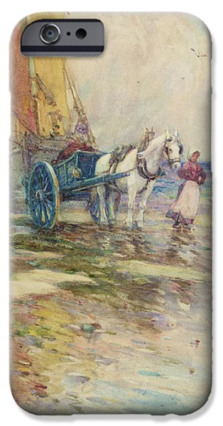 Horse And Cart Paintings iPhone Cases - On the Beach  iPhone Case by Oswald Garside