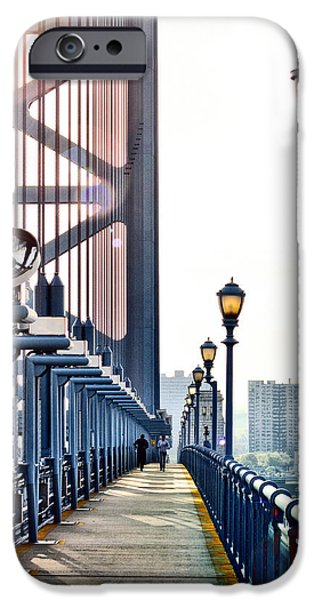 Franklin iPhone Cases - On The Ben Franklin Bridge iPhone Case by Bill Cannon