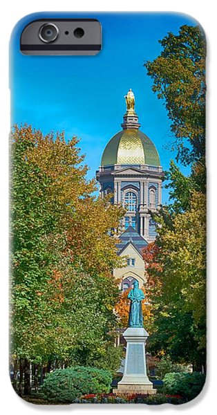 Autumn Trees iPhone Cases - On the Campus of the University of Notre Dame iPhone Case by Mountain Dreams