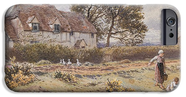 Feeding iPhone Cases - On the Common Hambledon Surrey iPhone Case by Myles Birket Foster