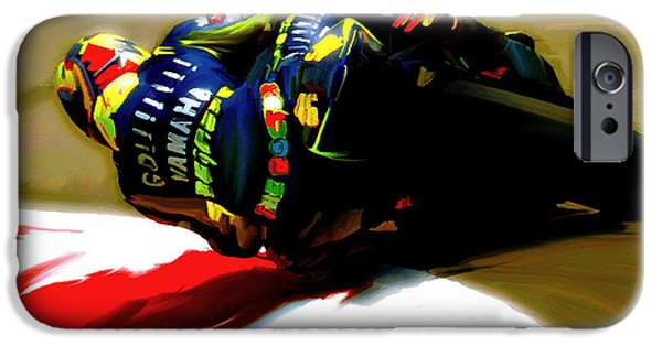 Dave Drawings iPhone Cases - On The Edge Vi Valentino Rossi iPhone Case by Iconic Images Art Gallery David Pucciarelli