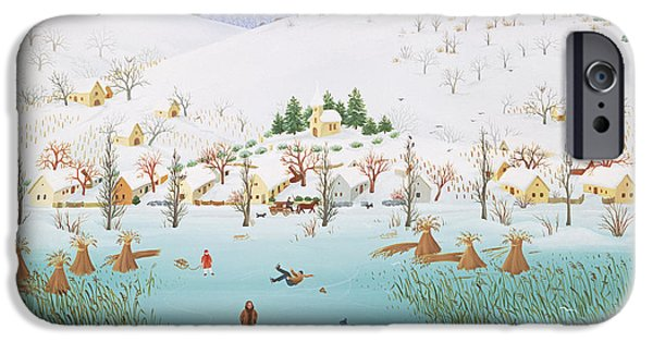 Snow iPhone Cases - On The Frozen Lake, 1987 iPhone Case by Magdolna Ban