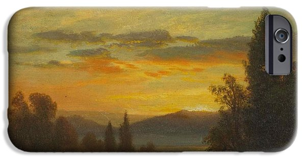 Hudson River iPhone Cases - On the Hudson River Near Irvington iPhone Case by Albert Bierstadt