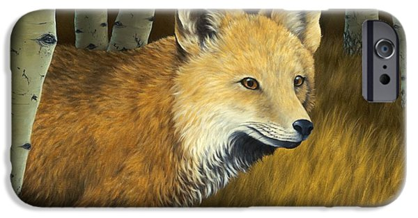 Fox Paintings iPhone Cases - On the Hunt iPhone Case by Rick Bainbridge