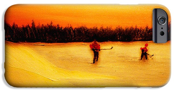Ice Hockey Paintings iPhone Cases - On the Pond with Dad iPhone Case by Desmond Raymond