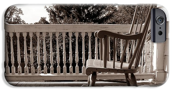 Rocking Chairs Photographs iPhone Cases - On the Porch iPhone Case by Olivier Le Queinec