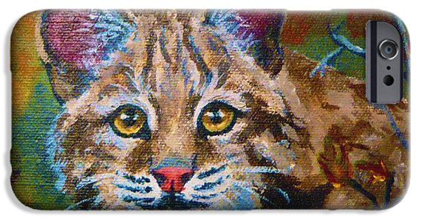 Bob Cats iPhone Cases - On the Prowl iPhone Case by Teshia Art