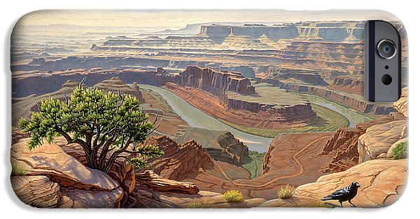 Canyons Paintings iPhone Cases - On The Rim-Dead Horse Point iPhone Case by Paul Krapf