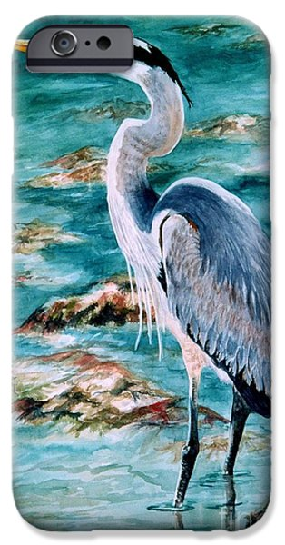 Cedar Key iPhone Cases - On the Rocks Great Blue Heron iPhone Case by Roxanne Tobaison