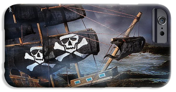 Pirate Ship iPhone Cases - On The Rocks iPhone Case by Ronel Broderick