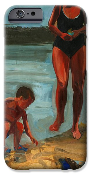 Bathing iPhone Cases - On The Shore, Walden Pond, 2003 Oil On Canvas iPhone Case by Daniel Clarke
