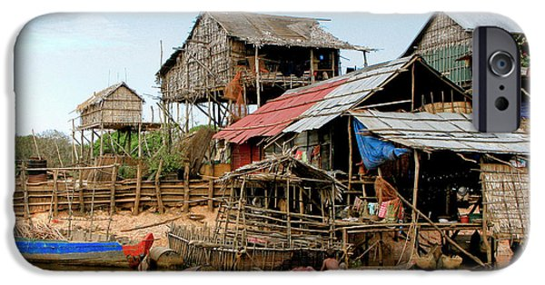 Bamboo House iPhone Cases - On the Shores of Tonle Sap iPhone Case by Douglas J Fisher