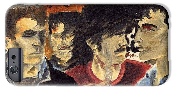 U2 Paintings iPhone Cases - On the Street iPhone Case by Alan Hogan