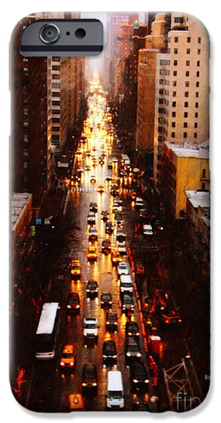 Rainy Day iPhone Cases - New York City on a Rainy Day iPhone Case by Nishanth Gopinathan