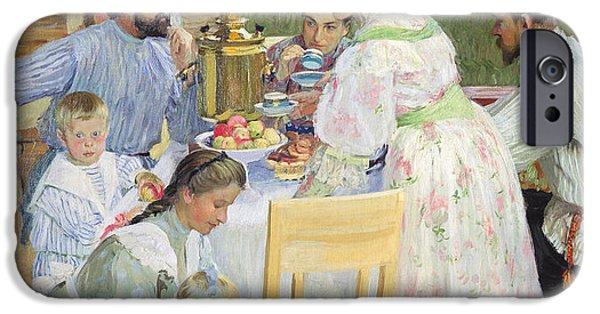 Domestic Scene iPhone Cases - On The Terrace, 1906 Oil On Canvas iPhone Case by Boris Mikhailovich Kustodiev