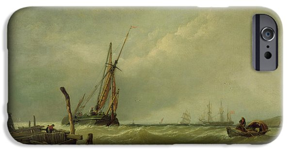 Sea iPhone Cases - On The Texel, 1856 Oil On Canvas iPhone Case by Clarkson R.A. Stanfield