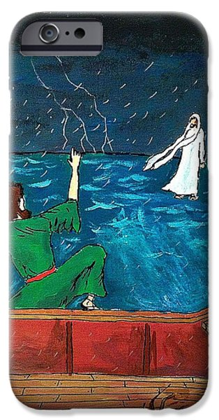 Jesus Walking On Water iPhone Cases - On The Water iPhone Case by David Hannah