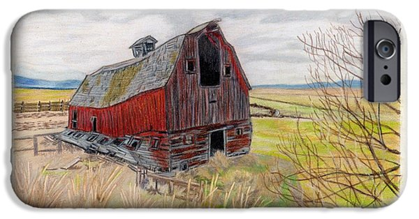 Old Barns Drawings iPhone Cases - On the way to Lakeview iPhone Case by Gail Seufferlein